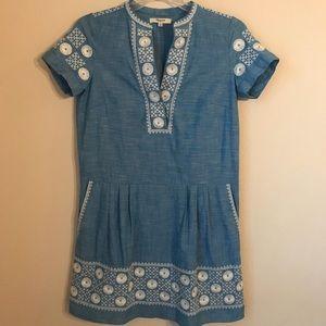 Madewell chambray sunstitch tunic dress XS